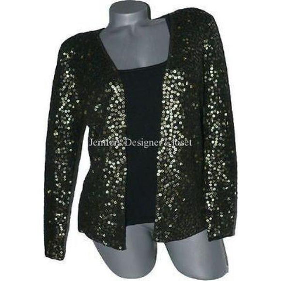 CARMEN MARC VALVO sequin sweater twin-set evening holiday cocktail party-Sweaters-Carmen Marc Valvo-Medium/Large-Black-Jenifers Designer Closet
