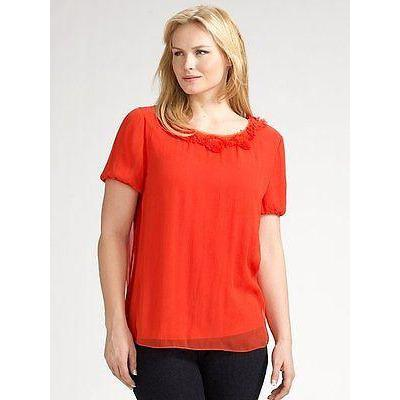 ELIE TAHARI chiffon silk blouse top career PLUS SIZE $248 0X orange designer-Tops & Blouses-Elie Tahari-0X-Orange-Jenifers Designer Closet