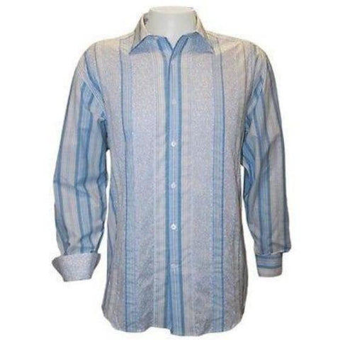 NWT NAT NAST long sleeve shirt M striped men's blue $185 contrast cuffs cotton - Jenifers Designer Closet