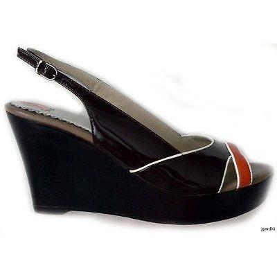 RAFE NY platform wedge shoes heels patent $315 brown patent leather-Heels-RAFE New York-Jenifers Designer Closet