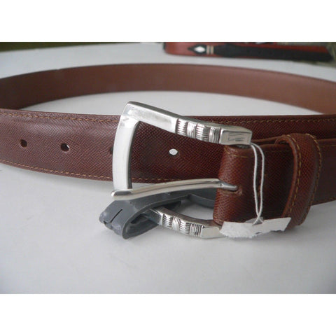 BRIGHTON 34 dress belt leather silver hardware brown glove lining-Belts-Brighton-34-Brown-Jenifers Designer Closet