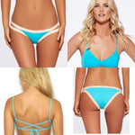 L SPACE XS swimsuit bikini 2PC turquoise strappy Haley top Charlie bottom-Clothing, Shoes & Accessories:Women's Clothing:Swimwear-L SPACE-XS-Turquoise-Jenifers Designer Closet