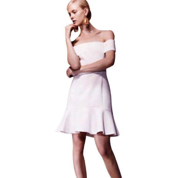 NWT N NICHOLAS 8 white off the shoulder mini dress wedding flounce $495 bridal