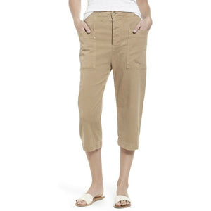 JAMES PERSE 27 4 cropped cargo pants tan khaki soft cotton twill comfy
