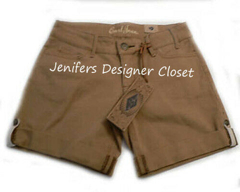 EARL JEAN 12 designer tan denim shorts celebrity designer khaki
