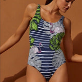 ONIA Kelly L pink flamingos stripe swimsuit one piece $195 tank maillot navy