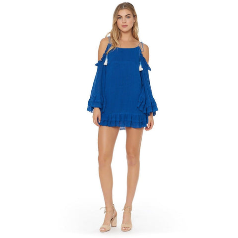 RED CARTER Large cold shoulder swimsuit beach coverup dress tunic $170 top-Clothing, Shoes & Accessories:Women's Clothing:Swimwear-Red Carter-Large-Blue-Jenifers Designer Closet