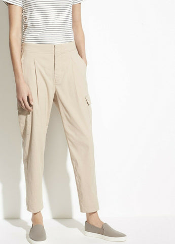 VINCE 8 ladies cargo pants Linen Blend cropped slacks trousers tan stretch - Jenifers Designer Closet