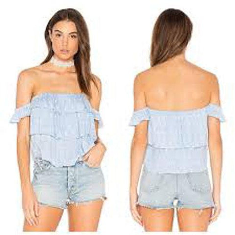 MISA Los Angeles Kaia off shoulder crop top shirt ruffled tiered blue-Clothing, Shoes & Accessories:Women's Clothing:Tops-Misa-Jenifers Designer Closet