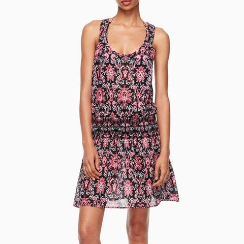 KATE SPADE SM beach swimsuit cover up dress floral $150 black pink smocked-Clothing, Shoes & Accessories:Women's Clothing:Swimwear-Kate Spade New York-Small-Black/pink-Jenifers Designer Closet