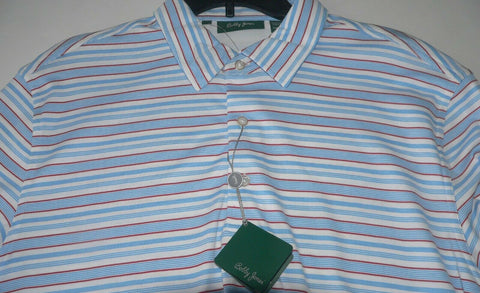 BOBBY JONES Golf polo shirt L golfer white w/ blue, red pinstripe men's PIMA