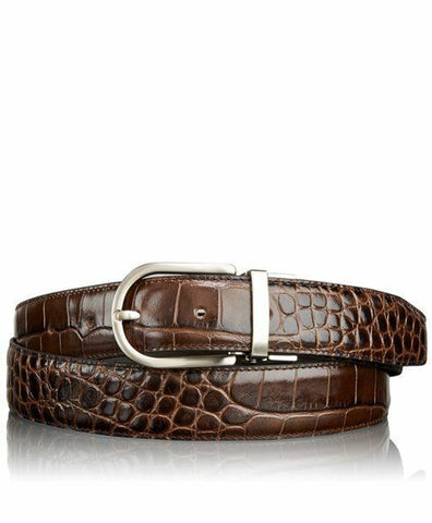 TUMI men's belt Crocodile leather brushed nickel hardware Brown $225 - Jenifers Designer Closet