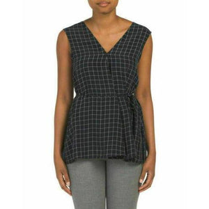 Theory LG v-neck top navy plaid sleeveless top career dressy noble grid