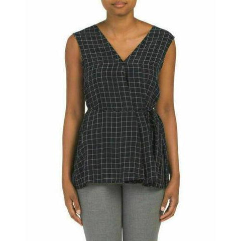 Theory LG v-neck top navy plaid sleeveless top career dressy noble grid-Clothing, Shoes & Accessories:Women's Clothing:Tops-Theory-Large-Navy-Jenifers Designer Closet