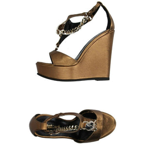 JUST CAVALLI 37 7 heels platforms sandals shoes metallic bronze chain $450