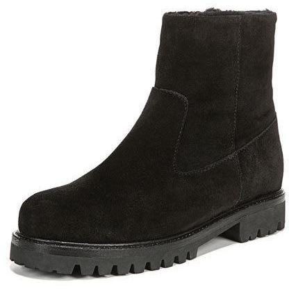 VINCE Frances 35 zip suede & shearling ankle boots lug sole black $425-Clothing, Shoes & Accessories:Women's Shoes:Boots-Vince-35-Black-Jenifers Designer Closet