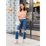 L'AGENCE Audrina 24 high-rise cropped jeans frayed distressed knees straight-Clothing, Shoes & Accessories:Women:Women's Clothing:Jeans-L'AGENCE-Jenifers Designer Closet