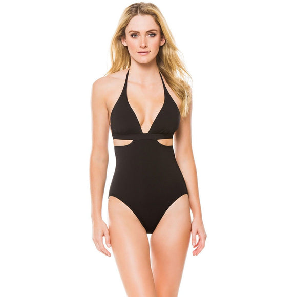 NWT SEAFOLLY 6 US Active halter maillot One Piece black swimsuit caged back $152