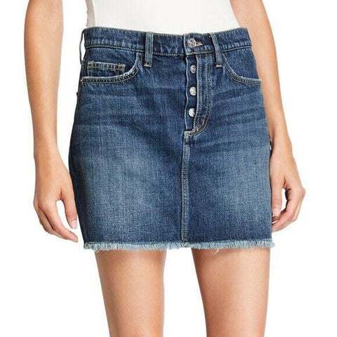 CURRENT ELLIOTT 25 Exposed Fly frayed hem denim jeans 5 Pocket mini skirt - Jenifers Designer Closet