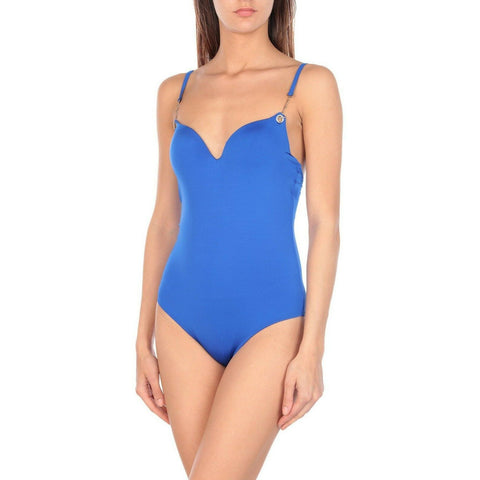 MOEVA London L US-8 swimsuit royal blue formed cups gold chains underwire-Clothing, Shoes & Accessories:Women's Clothing:Swimwear-Moeva London-US-8-Blue-Jenifers Designer Closet