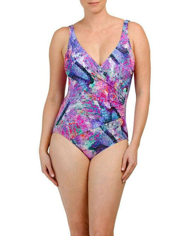 GOTTEX V-neck one-piece swimsuit stained glass wrap draped tummy control