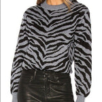 REBECCA MINKOFF S Jax zebra Intarsia sweater soft warm luxury pullover - Jenifers Designer Closet