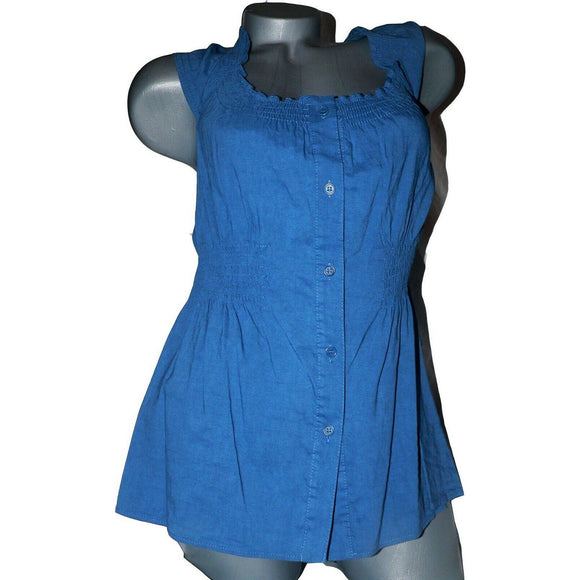 THEORY XL linen button up shirt mai tai blue $180 smocked waist and top