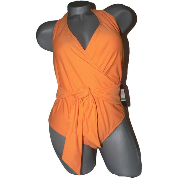 RACHEL ROY L Halter Swimsuit One Piece bright orange sash tie wrap front
