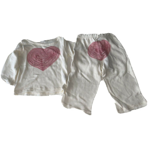 SUBMARINE 2 piece pants set. top bottom 24 MOS ecru pink hearts baby girls-Clothing, Shoes & Accessories:Baby:Baby & Toddler Clothing:Outfits & Sets-Submarine-24 mos-ecru-Jenifers Designer Closet