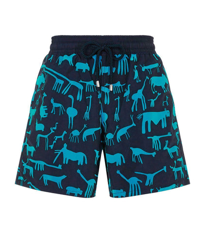 VILEBREQUIN XL (34-36) Moorea swim trunks men's swimsuit shorts navy flocked - Jenifers Designer Closet