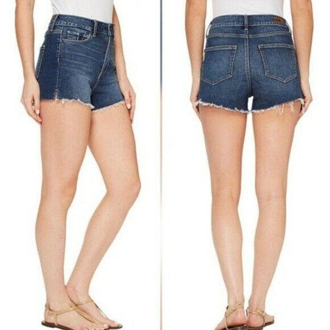 PAIGE 30 Premium Denim cutoff blue jean shorts Margot destructed Yasiel - Jenifers Designer Closet