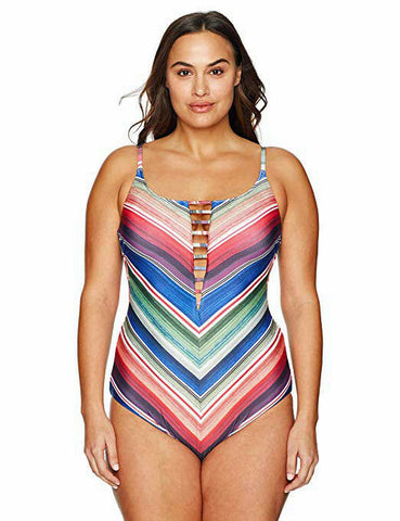 BECCA 1X (16-18) plus size striped plunging Swimsuit ladder front 1 piece