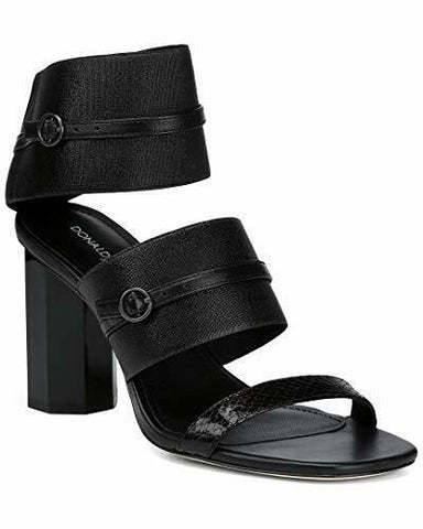 DONALD PLINER shoes sandals black leather elastic heels designer ankle - Jenifers Designer Closet