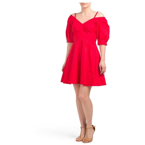 DEREK LAM 10 Crosby 6 red off-shoulder cold shoulder dress $325 poplin mini-Clothing, Shoes & Accessories:Women's Clothing:Dresses-Derek Lam-6-Red-Jenifers Designer Closet