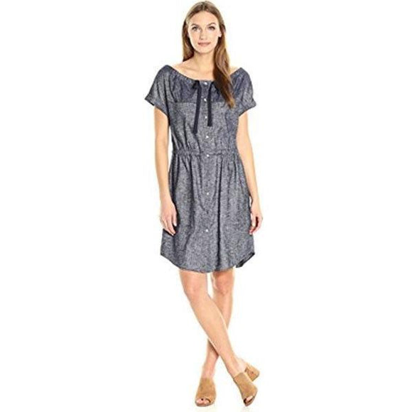 NWT THEORY 4 chambray linen blend dark blue denim shirt dress $345 Tierra wash