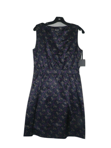 PREMISE 10 career work church Akila dress navy petal slick sheen navy