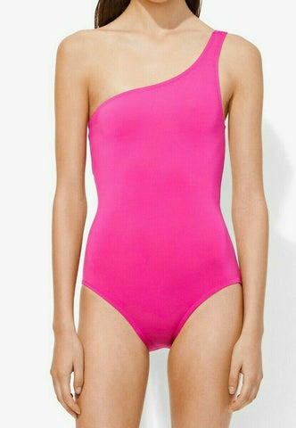 PROENZA SCHOULER M One Piece Swimsuit one shoulder hot pink maillot