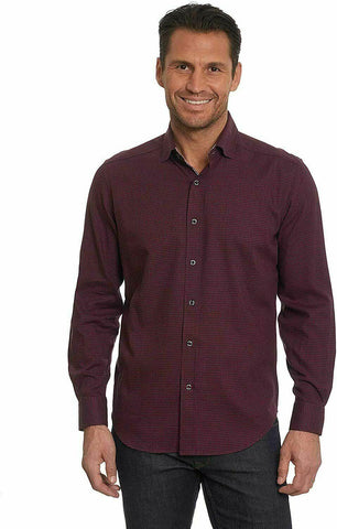 ROBERT GRAHAM 3X XXXL shirt Bordeaux hounds tooth check big & tall men's - Jenifers Designer Closet