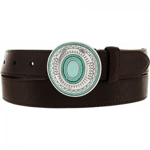 BRIGHTON SM leather turquoise silver medallions conchos belt Vista $145