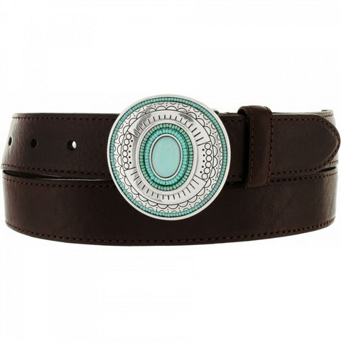 BRIGHTON SM leather turquoise silver medallions conchos belt Vista $145-Clothing, Shoes & Accessories:Women:Women's Accessories:Belts-Brighton-Jenifers Designer Closet
