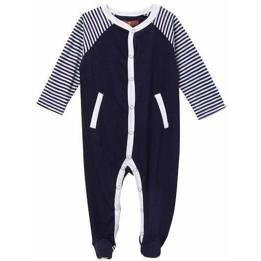 7 For All Mankind 6-9 mo infant baby one pc footie footed outfit snap navy