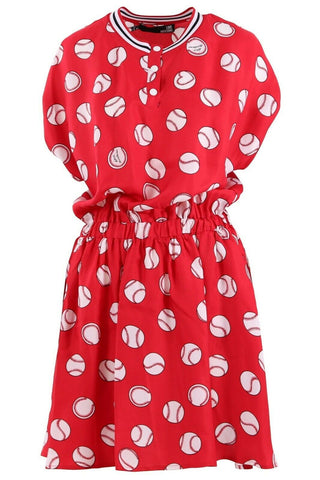 LOVE MOSCHINO 44 8 baseball dress $669 red with pockets snaps designer