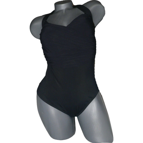 GOTTEX 6 black slimming One Piece swimsuit $158 surplice draped ruched