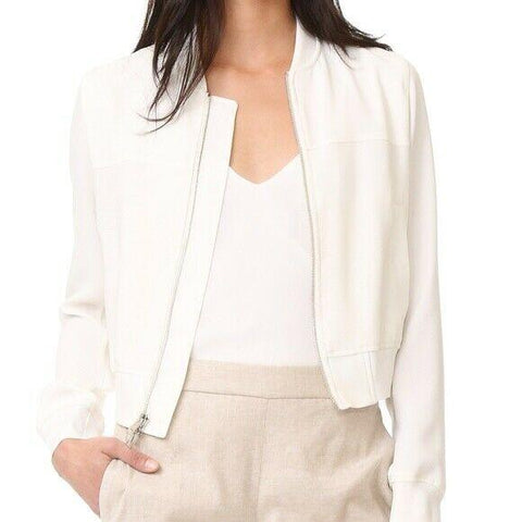 THEORY ladies 12 Rice Ivory Classic Zip Crepe Clean Bomber Jacket