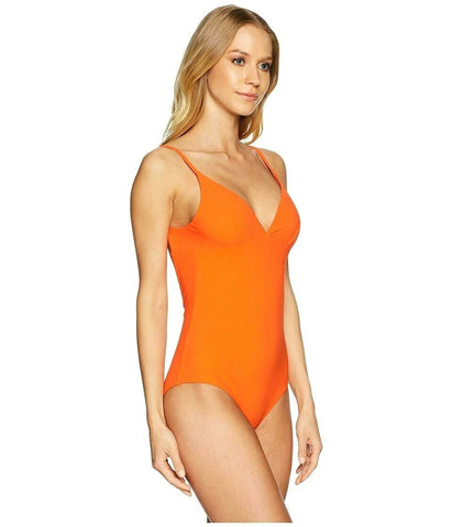 TORY BURCH L  Swimsuit Marina Maillot sweet tangerine orange backless v-neck - Jenifers Designer Closet