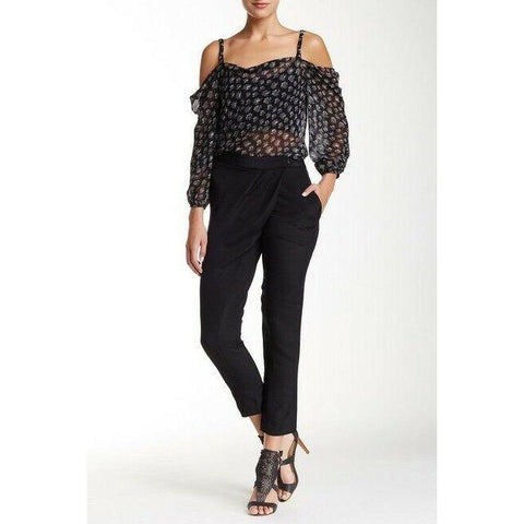 REBECCA MINKOFF 2 Silk Kalahari dress pants black wrap style slacks trousers-Clothing, Shoes & Accessories:Women:Women's Clothing:Pants-Rebecca Minkoff-Jenifers Designer Closet