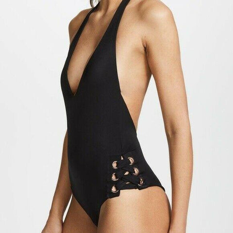 TORI PRAVER black S rivets 1 piece swimsuit cheeky plunging lace-up-Clothing, Shoes & Accessories:Women's Clothing:Swimwear-Tori Praver-Jenifers Designer Closet