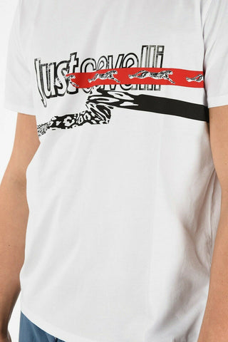 JUST CAVALLI tee t-shirt LG white red black leopard cheetah Roberto men's - Jenifers Designer Closet
