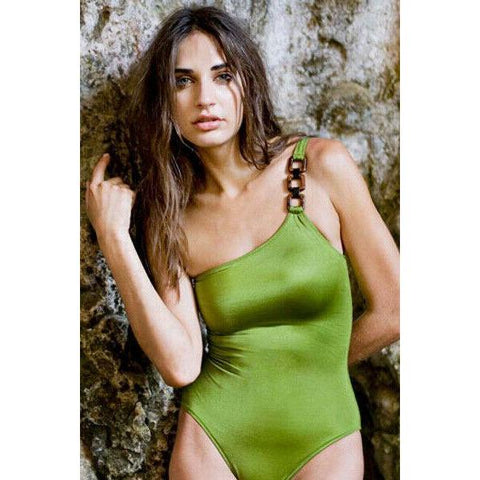 MELISSA ODABASH 40 2/4 swimsuit 1pc one-shoulder olive bathing suit-Clothing, Shoes & Accessories:Women:Women's Clothing:Swimwear-Melissa Odabash-Jenifers Designer Closet
