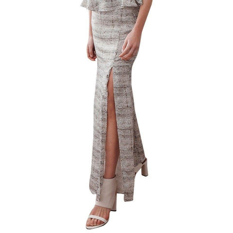 STEVIE MAY Maxi Skirt Small long mermaid style high front split $260 viper-Clothing, Shoes & Accessories:Women's Clothing:Skirts-Stevie May-Small-Black/ivory-Jenifers Designer Closet